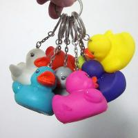 Best Custom vinyl colorful duck keyring, mini colorful pvc ducks keychain with green materials shenzhen factory wholesale