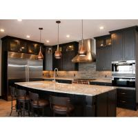 Best L - Shape Integrated Style Pvc Kitchen Cabinets With Island Bench Black Color wholesale