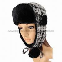 China Fashionable thick plaid cute winter hat for women, with soft fake fur lining and pompoms on sale