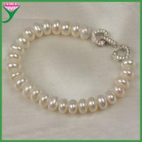 Best wholesale price 8-9mm cultured natural button white fresh water pearl bracelets wholesale