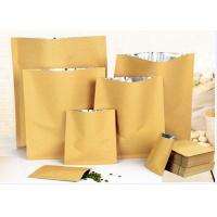 China Zip Lock White Kraft Paper Pouch , Stand Up Zipper Pouch Bags With Matte Window on sale
