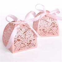 Best Wedding Small Candy Boxes , Pink Color Mini Paper Gift Box Offset Printing wholesale