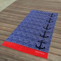 Buy cheap Cabana Blue And Red Striped Towel , Black Anchor Beach Towel 15 Colours product
