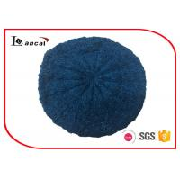 China Cable Pattern Womens Knit Beret Hat Acrylic Fabrics With Dark Blue Lurex on sale