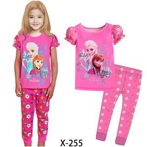 China Pink Girl Frozen Summer Pajamas Set X-255 on sale