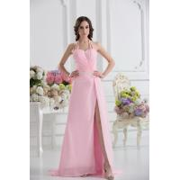 Best Sexy Halter Sweetheart A-line Floor Length Chiffon Pink Evening Party Gown Beads wholesale