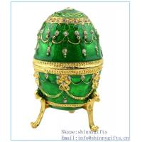 Best Hand- Painted Rich Green Vintage Faberge Egg with Gold Finish, Rhinestones, Enamel Jewelry wholesale