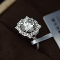 China 2cts Moissanite Jewelry Ring Round Shape 8mm Size OEM / ODM Acceptable on sale