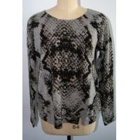 Best Women Leopard Floral Print Sweater , 12 Gauge Long Sleeve Pure Cashmere Pullover wholesale
