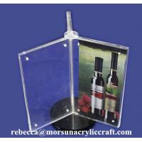 China Rotatable Acrylic Magnetic Menu Holder 3 Side Plexiglass Post Holder on sale