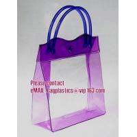 Best clear pvc packaging bag with handle for wine, vinyl pvc zipper gift tote bags with handles, gift bag with plastic snap wholesale