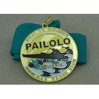 China Synthetic Ribbon Medals With Zinc Alloy Gold Die Casting Swimming Medal wholesale