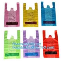 China Biodegradable compostable T-Shirt Bag,Carry Out Retail Bags Recyclable Grocery Shopping,Grocery T-shirts Carry-out Ba on sale