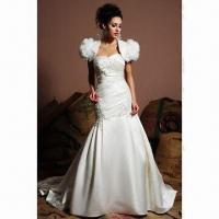 Strapless A-line Bridal Gown with Tulle Skirt, Beaded Satin Bands, ODM Orders are Welcome