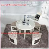 Best White painting Circular Leisure time tea table and upholstery stool wholesale
