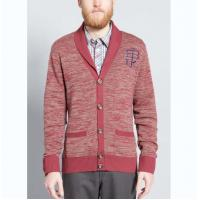 Best Warm Mens Full Zip Cardigan Sweater , Red Cardigan Sweater With Embroidery wholesale