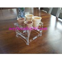 Best Detachable Engraved Acrylic 4 Waffle or Cones Holder, 4 slot Ice Cream Cone Display Stand wholesale