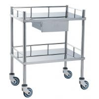 Best Movable Medical Clinical Trolley Stainless Steel With Two Shelves And One Drawer wholesale