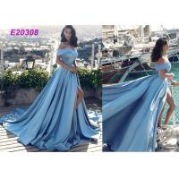 Best Vintage Sleeveless Off The Shoulder Ball Gown , Cute Slit Open Back Prom Dress wholesale