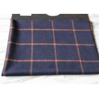Business Casual Style Plaid Tartan Fabric , Dark Blue Tartan Fabric Wool With Orange Line