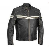 China Waterproof PU Leather Mens Flight Jacket Fashionable Zippered With Woven Label on sale