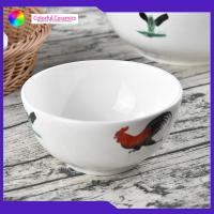 China Vintage porcelain 5inch bowls  Chicken Boy decal  handmade ceramic soup bowl salad bowl on sale