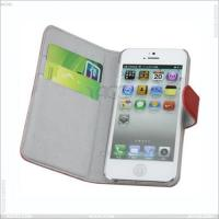 Best Left and Right Litchi Grain Genuine Leather Case for iPhone 5 wholesale