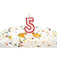 Best Birthday Candle Number 5 With Red Color Edge , Lovely Candles For Cake Decorating wholesale