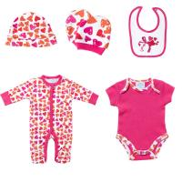 Best Spring Knitted Printed 5 Pieces Baby Born Clothes Set For Gift , Custom Made wholesale