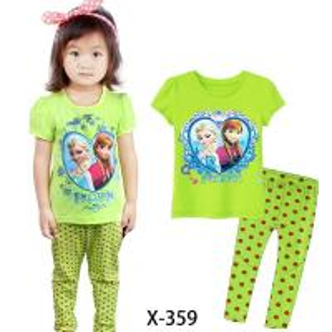 China Green Girl Frozen Summer Pajamas Set Clothes set X-359 on sale