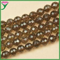 Best 14mm AAA faceted round natural smoky quartz stone price, smoky quartz wholesale
