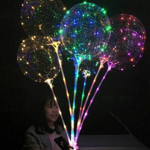 Best Birthday Party Air Confetti Balloon Helium Transparent Led Latex Balloon Sticks Stand Decoration Light wholesale