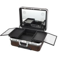 China Rolling Makeup Case With Mirror , Makeup Vanity Box With Mirror And Lights on sale
