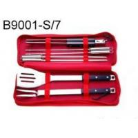 China 7 pcs BBQ Tool Set w/Pom Handle in a Nylon Bag on sale
