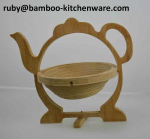 China Bamboo Wooden Tea Pot Shaped Folding Collapsible Multipurpose Fruit Basket Board Coaster on sale