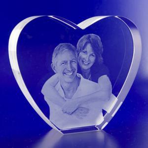 Best 2D Crystal Portraits Heart Shape Crystal wedding gift wholesale