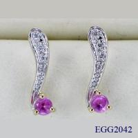 China Fine Gold Jewelry - 10K Gold Synthetic Sapphire Earrings (EGG2042) on sale