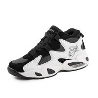 China Black And White High Ankle Basketball Shoes Anti Slippery Thickened Sole on sale