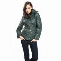 Best Women's down jacket with waistband and detachble hood wholesale