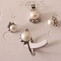 Best Elegant Stainless Steel Pendant and Earrings Jewelry Sets with Fresh Water Pearls wholesale