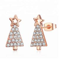 Best Wholesale Fashion Jewelry Star Zircon Earring Gold Plated Christmas Tree Earrings wholesale