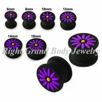 Best 8mm Black Silicone Ear Expander Plugs With Purple Flower For Gift wholesale
