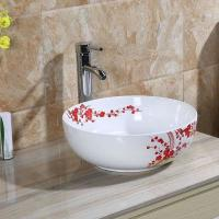 China Wholesale above counter ceramic hand painted modern round basin on sale