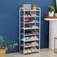 Best 8 Tier Metal Mesh Shoe Rack White Color Powder Coating With Non - Slip Rods wholesale