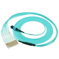 China High Speed OM3 Fiber Optical MTP Trunk Cable MPO Patch Cord 12 Cores on sale