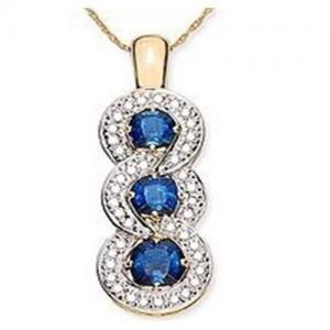 China Blue Sapphire & Diamond Pendant on sale