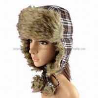Fashionable plaid and fake fur funny winter hat with earflap and pompoms