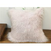 Best Home Decorative Cream Mongolian Fur Pillow Comfortable With Long Curly Hair wholesale