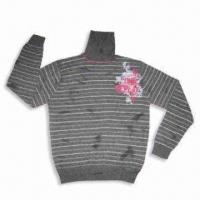 China Men's Print Pullover Sweater with 12GG Gauge and 100% Cotton Material, OEM Services are Provided on sale