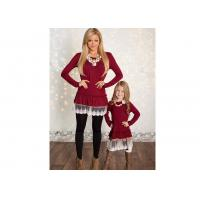 Buy cheap Burgundy Mommy And Me Family Matching With Lace Hem And Long Sleeve from wholesalers
